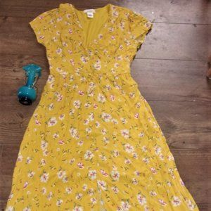 womens large maxi long dress yellow floral flower